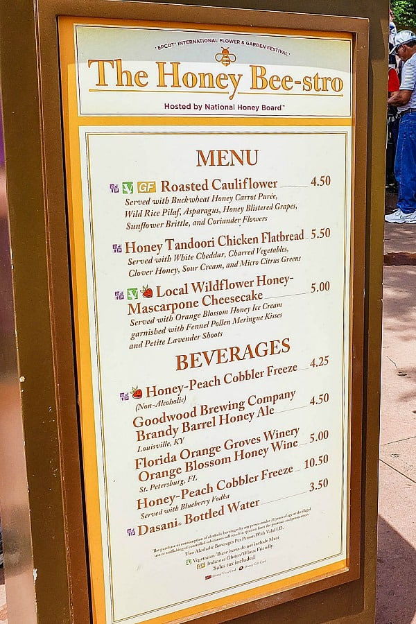 Honey Bee-stro Menu at Epcot