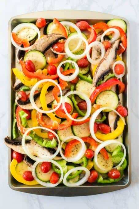 Veggies on baking pan
