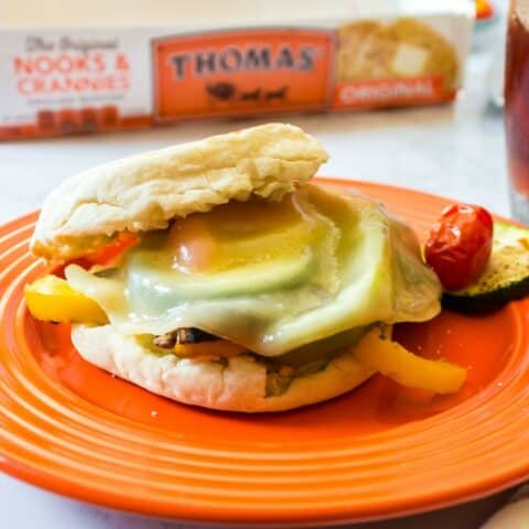 Roasted veggie sandwich on plate