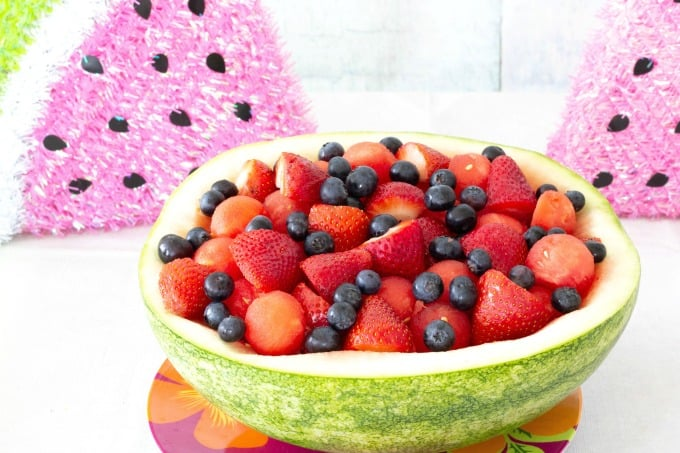 Mixed fruit in watermelon bowl
