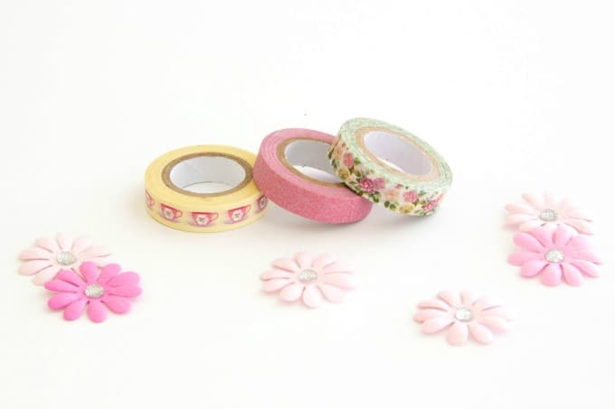 Washi tape and paper flowers