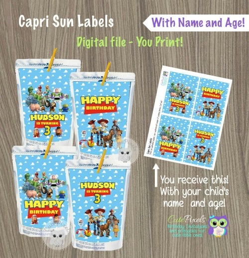 Toy Story Labels for drinks