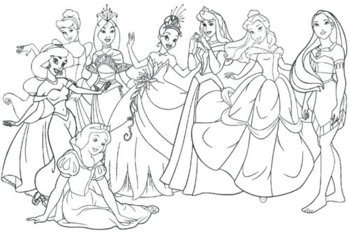 disney princess coloring page for rainy day fun