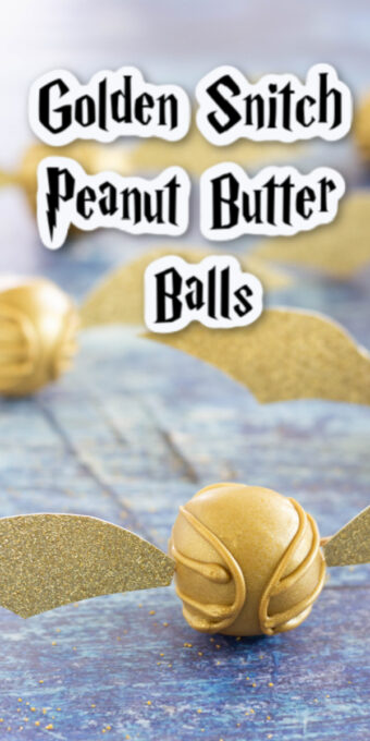 Golden snitch peanut butter balls on table