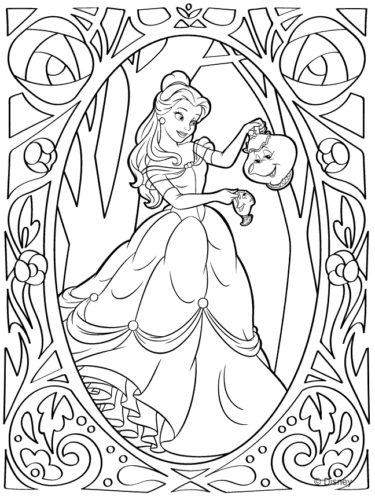 Disney Princess Belle Coloring Pages - Coloring Home | 500x375
