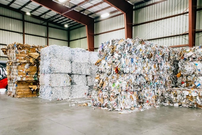 Recycled Bales at Single Stream Recyclers