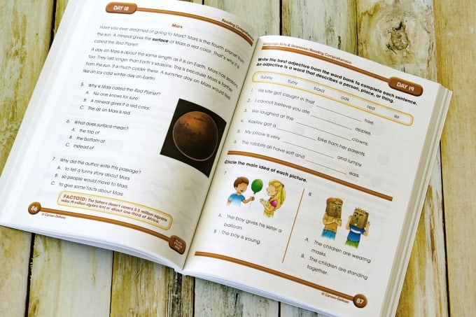Workbook pages in Summer Bridge Activities