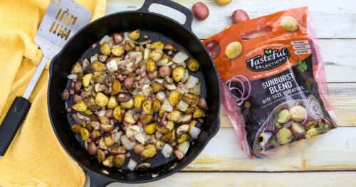 Breakfast potatoes in skillet