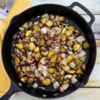 Breakfast Potatoes With Mushrooms, Onion And Ham