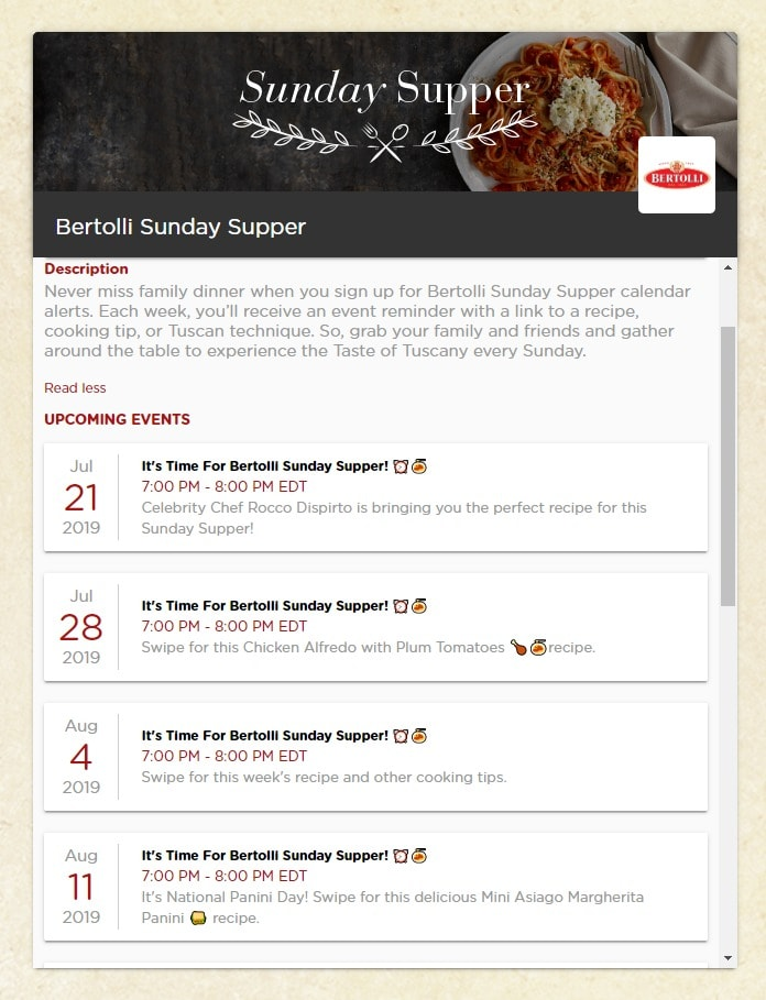 Bertolli Sunday Supper Calendar