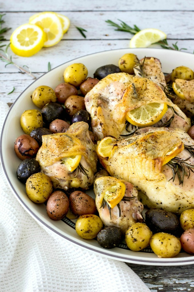 Lemon Rosemary Chicken And Potatoes on plate