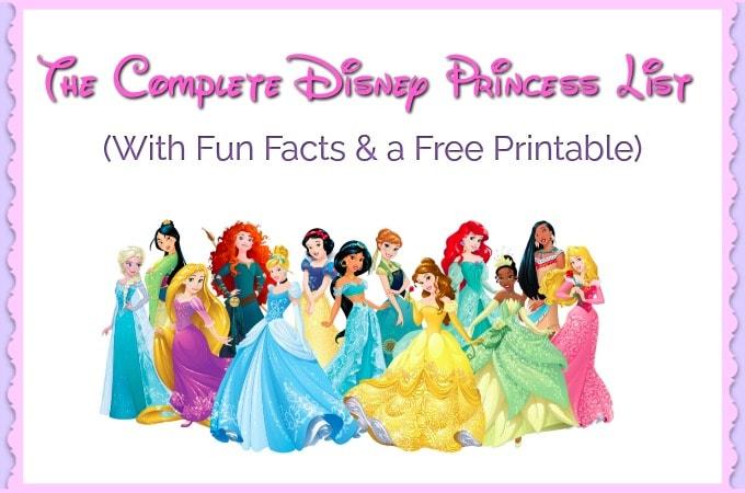 The Complete Disney Princess List Fun Money Mom