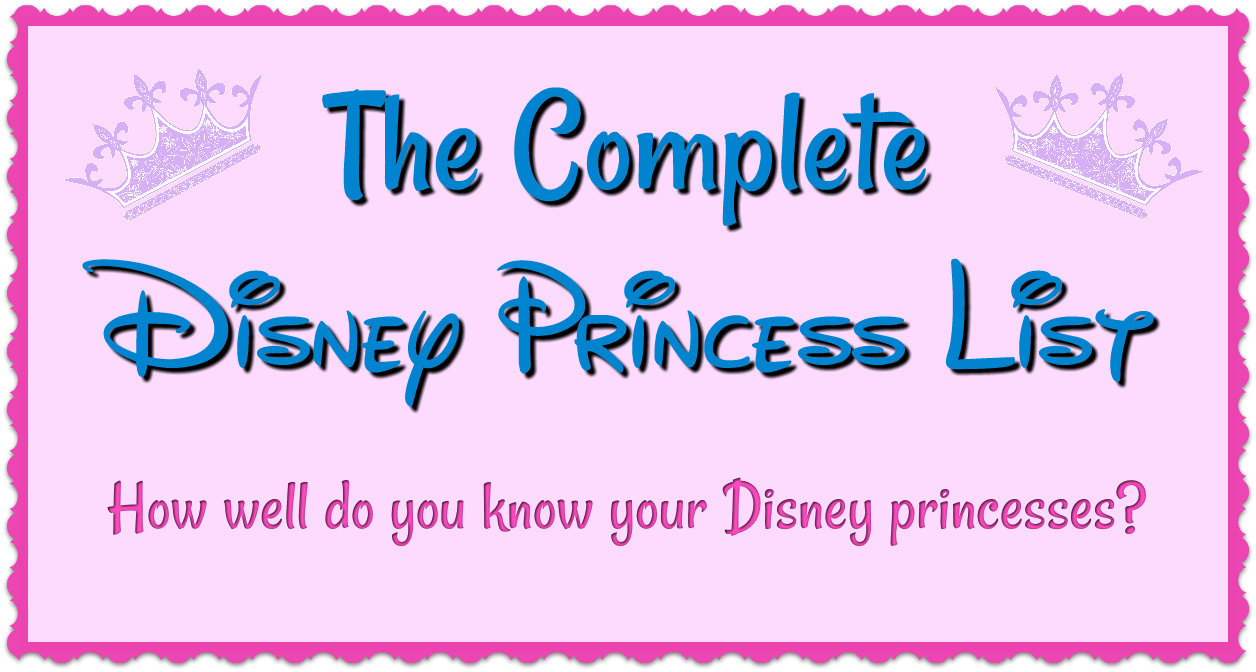 actual all disney princesses names