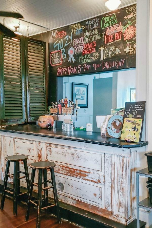 Bar at the Mockingbird Cafe in Coastal Mississippi