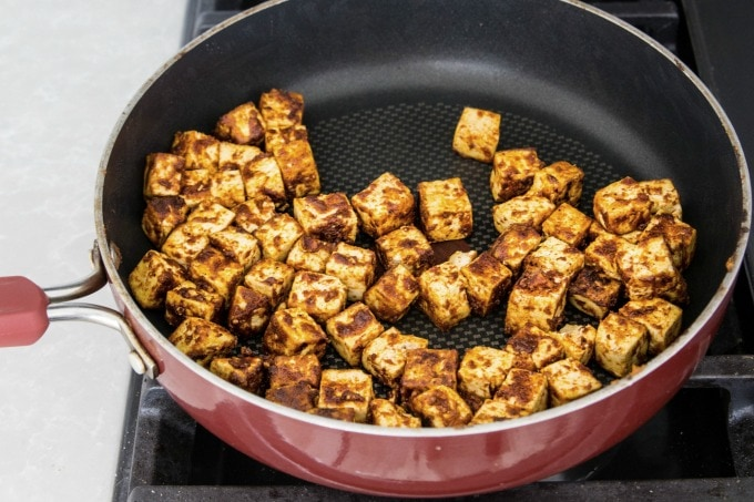 Cooking tofu in a pan