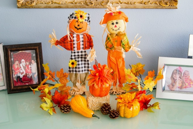 Fall decor with scarecrows