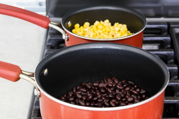 Heating black beans and corn
