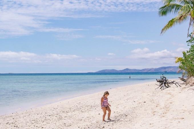 Keira exploring Fiji beach