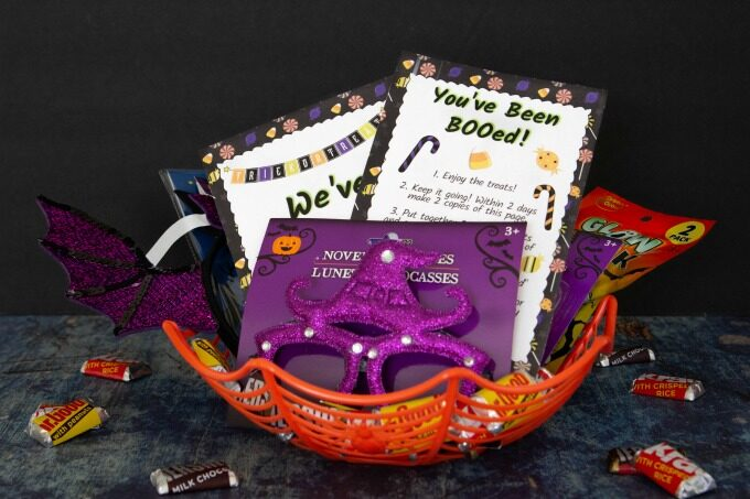 Boo basket filled with Halloween goodies