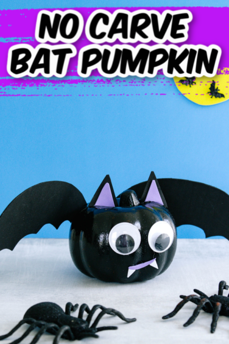 Bat pumpkin with giant spiders