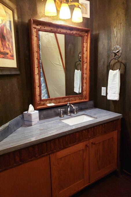 Bathroom sink in Westgate River Ranch teepee