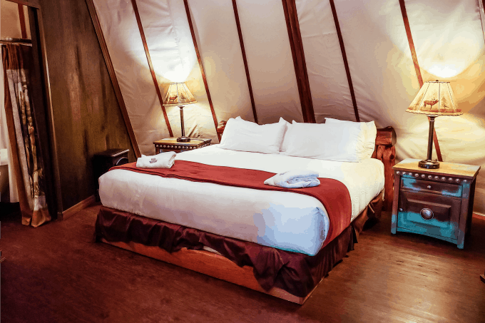 Bed in Westgate River Ranch Luxe Teepee