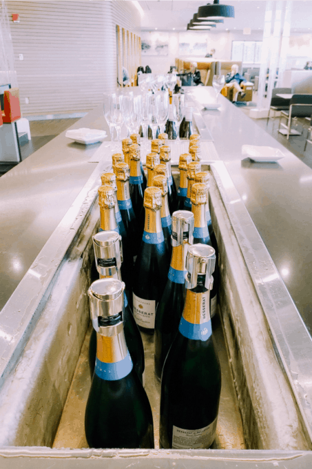 Champagne bottles in the Finnair Lounge