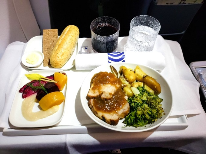 Dinner in Finnair business class
