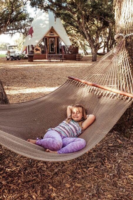 Keira laying in hammock