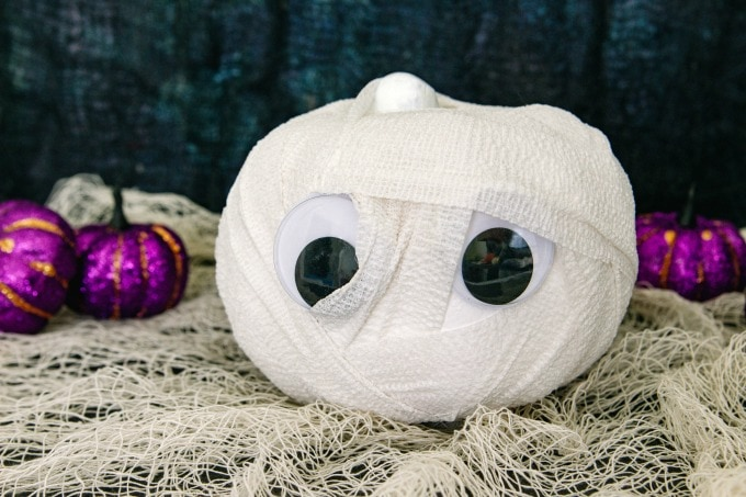 Mummy pumpkin with purple pumpkins