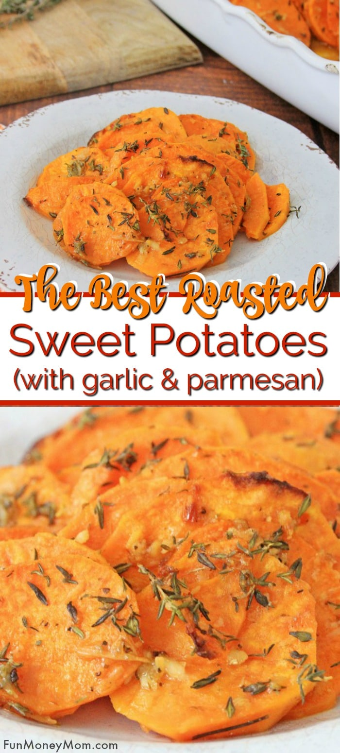 Roasted sweet potatoes with garlic and parmesan