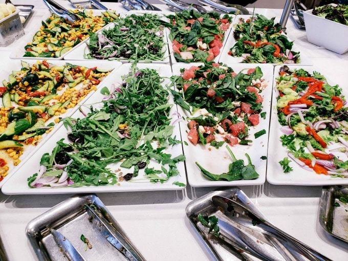 Salads in the Finnair Lounge