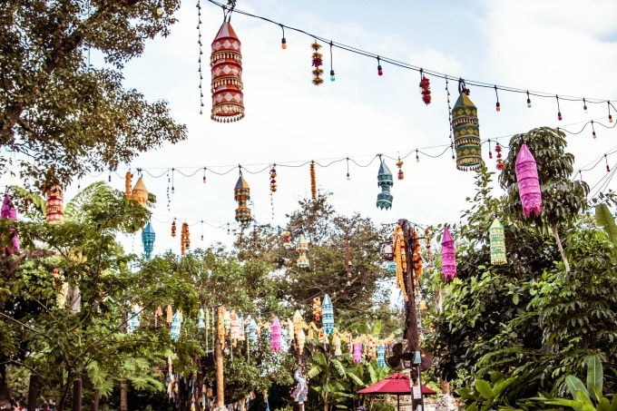 Colorful lanterns in Animal Kingdom's Asia