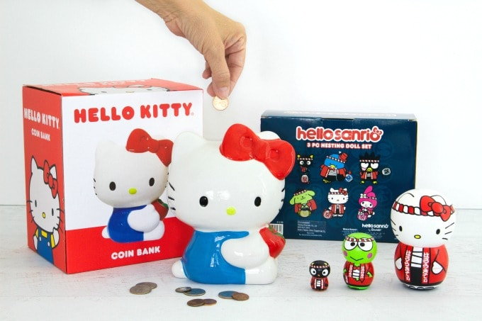 Hello Kitty piggy bank and nesting dolls