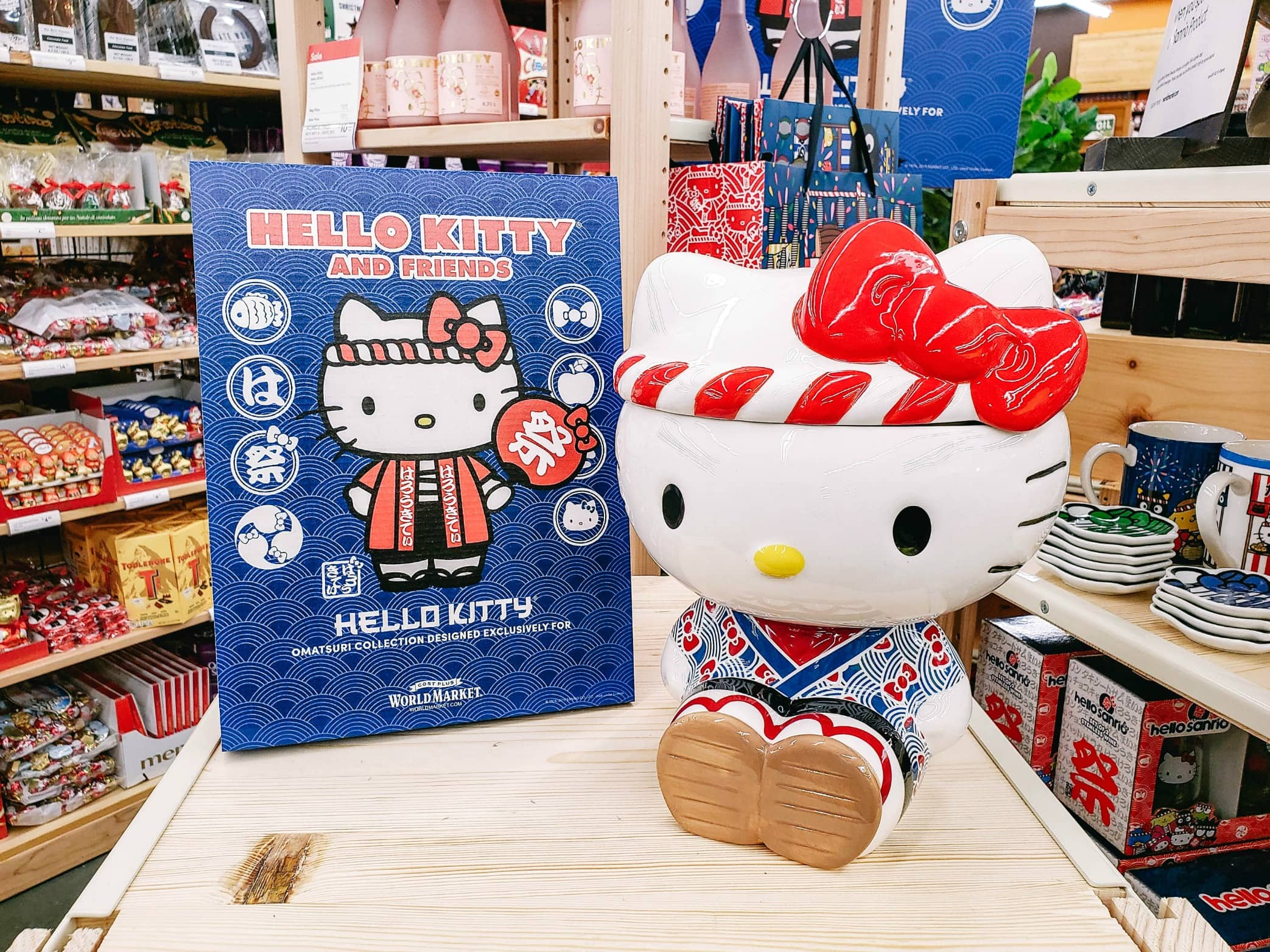 Hello Kitty sign and cookie jar
