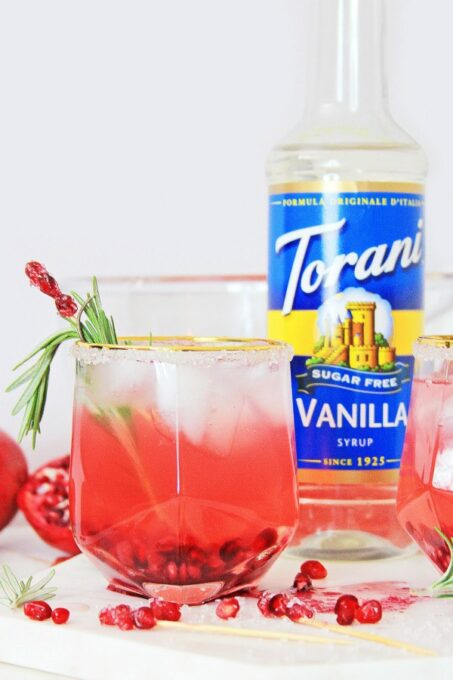 Holiday punch with Torani sugar free syrup bottle
