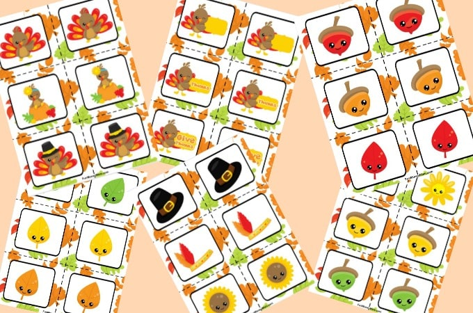 Thanksgiving Matching Game cards