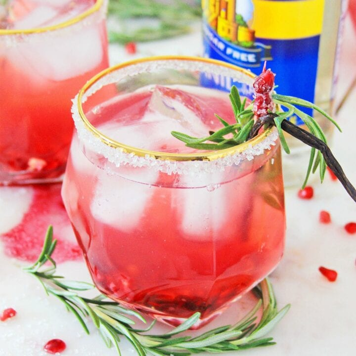 Vanilla Pomegranate Holiday Punch in glass
