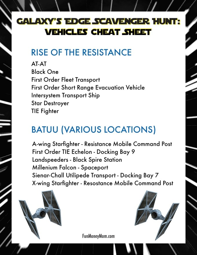 Galaxy's Edge Scavenger Hunt - Vehicles Cheat Sheet