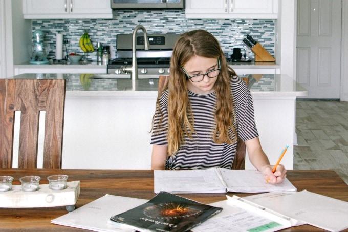 Child doing homework