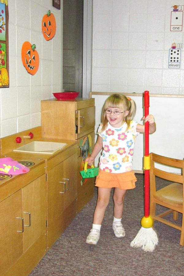 Ashling having fun in classroom