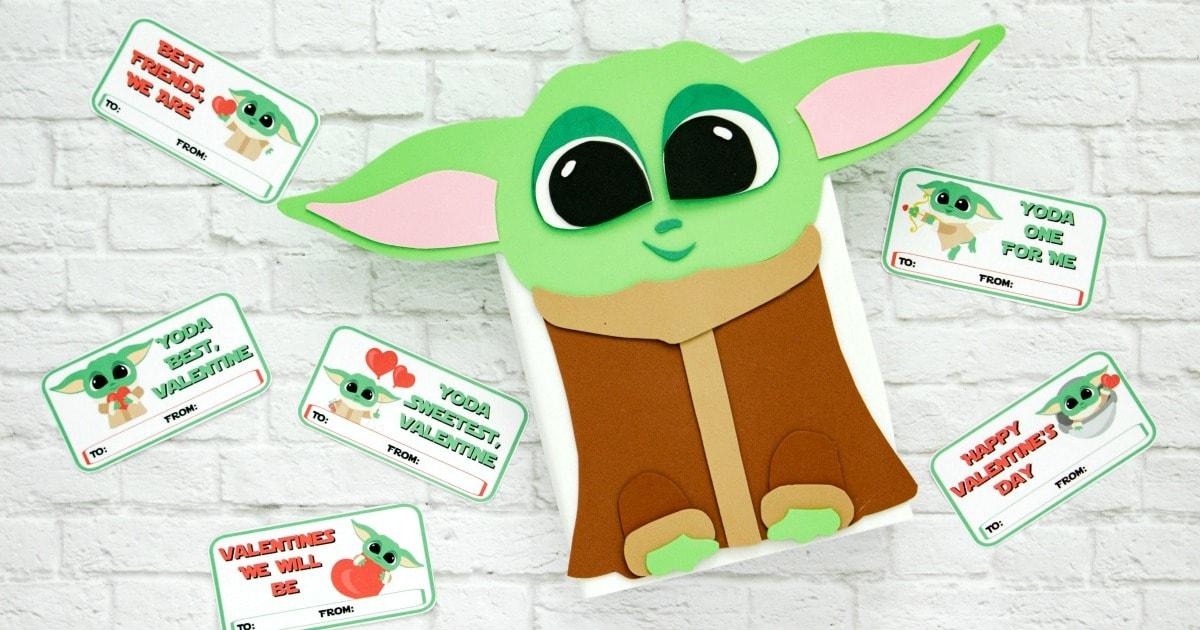 Baby Yoda Valentine Box With Free Printable Template Fun Money Mom