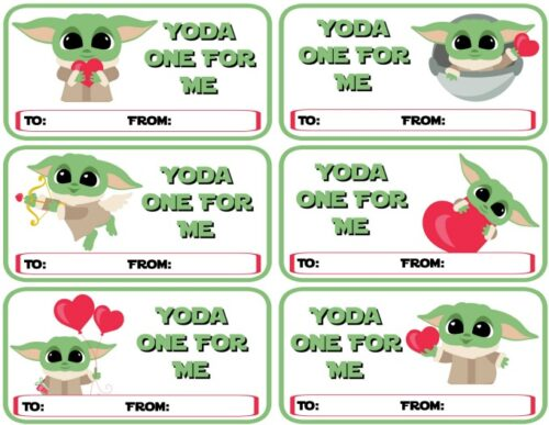 Printable Baby Yoda Valentines - Yoda One For Me