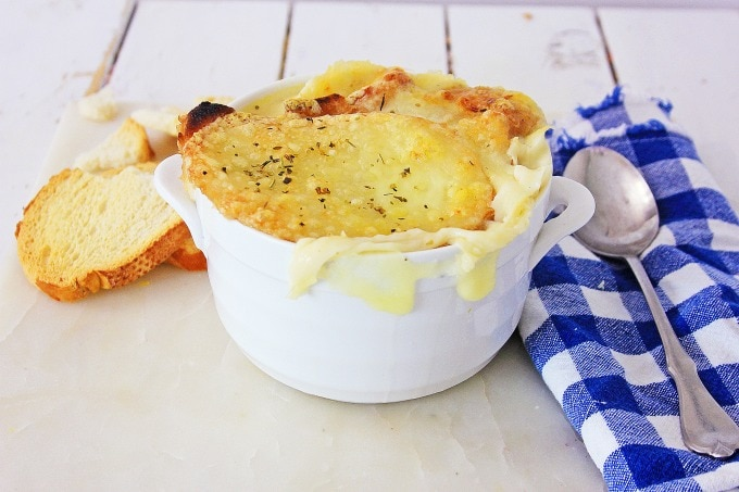 French Onion Soup in white bowl