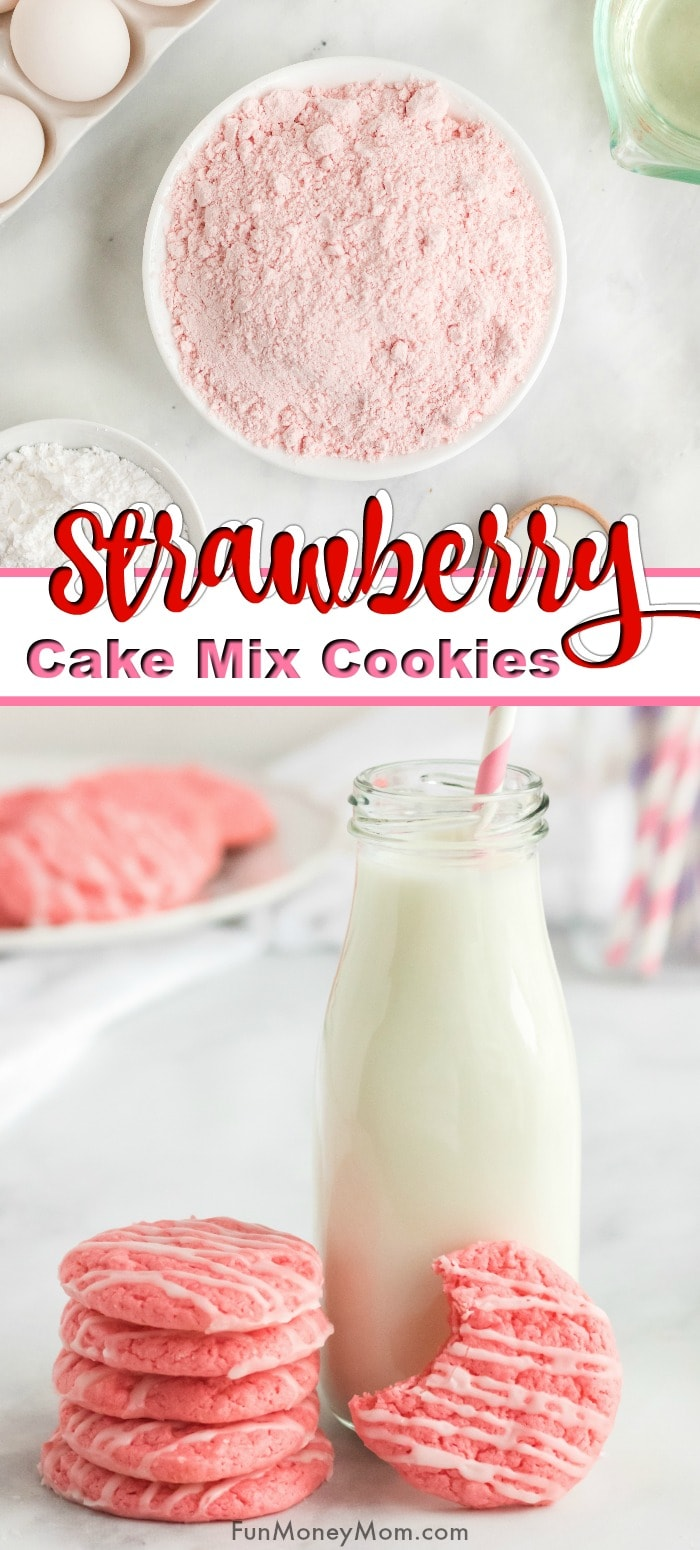 Strawberry Cake Mix Cookies Pin 2