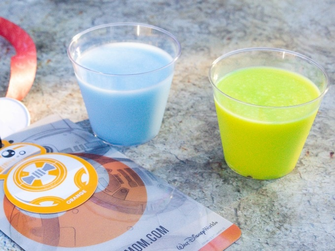 Blue milk and green milk at Galaxy's Edge