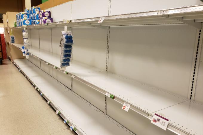 Empty store shelves at Publix