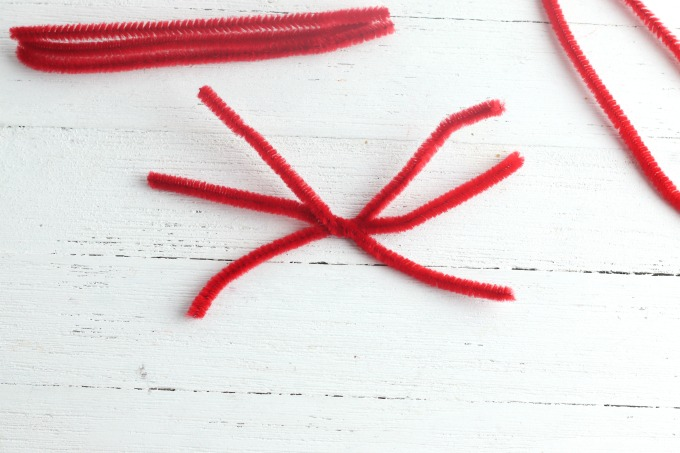 Pipe cleaners for toilet paper roll craft