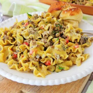 One Skillet Philly Cheese Steak Pasta
