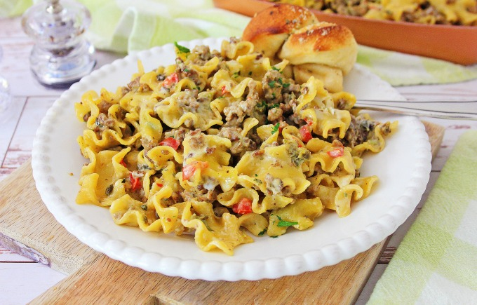 Skillet philly cheese steak pasta